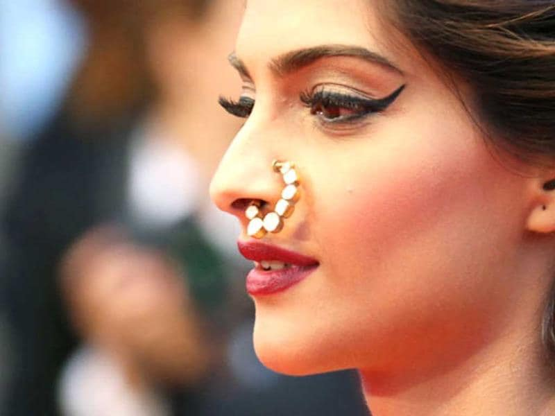 Fashionista Sonam Kapoor flaunted her kundan-studded nosering at Cannes film festival.