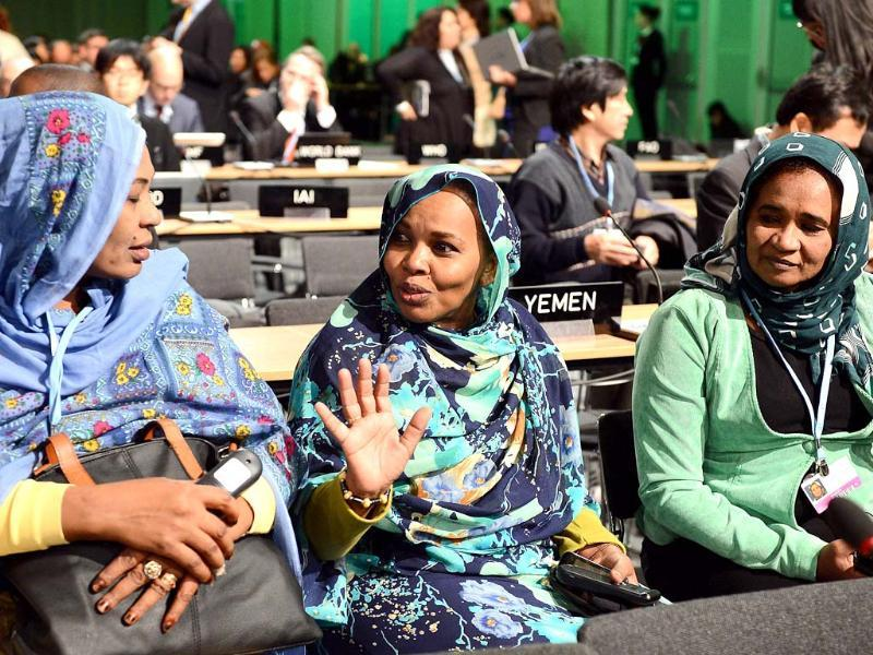 Representatives of Sudan attend a plenary session of the conference, launched for a 2015 deal to cut Earth-warming greenhouse gas emissions. (AFP Photo)