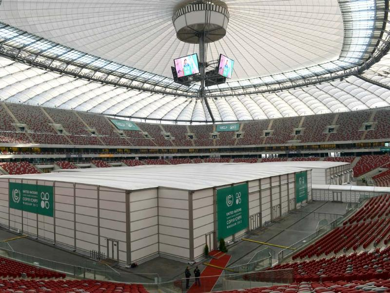 This photo shows the venue of the United Nations Climate Change Conference at the National Stadium in Warsaw. (AFP Photo)