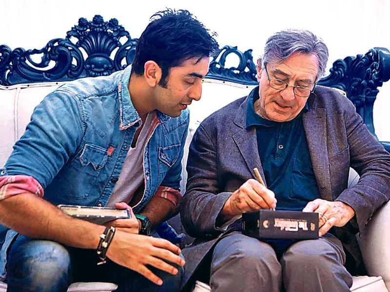 When Hollywood legend Robert De Niro came visiting Anupam Kher's acting school in Mumbai, a group of Bollywood celebs was there to greet him, including Ranbir Kapoor who looked like a school boy as the actor signed a CD of his iconic film, The Godfather. Here's a look.