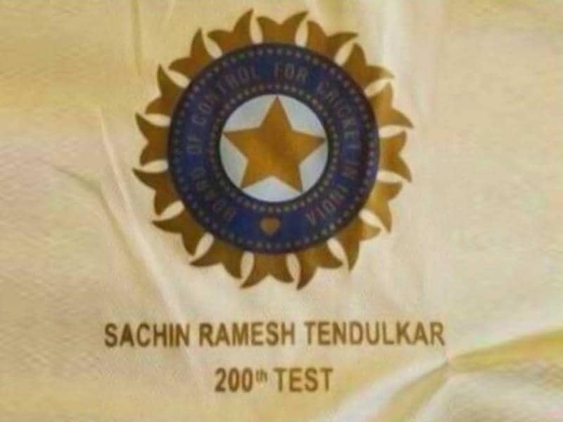 The BCCI had 'Sachin Ramesh Tendulkar 200th Test' embossed below the Board logo on the national team's jersey. (Photo credit: @BCCI)