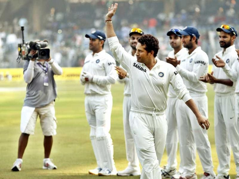 Sachin Tendulkar enters the field to play his final and 200th test match against West Indies at Wankhede Stadium in Mumbai. (Ajay Aggarwal/HT photo)