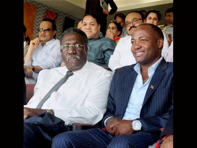 West Indies former captains Clive Lloyd and Brian Lara watch as Sachin Tendulkar plays his last Test against West Indies at Wankhede. (PTI photo)