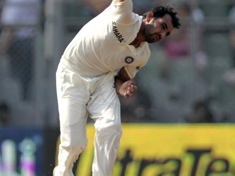Mohammed Shami blows during 2nd Test match between India and the West Indies at the Wankhede Stadium in Mumbai. (HT Photo/Satish Bate)