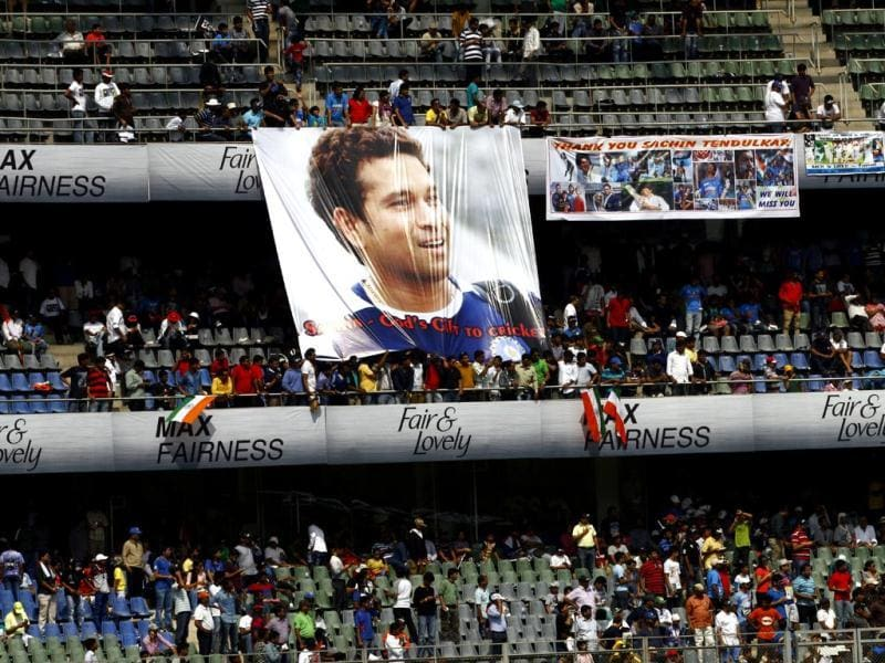 Fans watch as Sachin Tendulkar plays during his last and 200th Test match against West Indies at Wankhede Stadium. (Ajay Aggarwal/ HT photo)