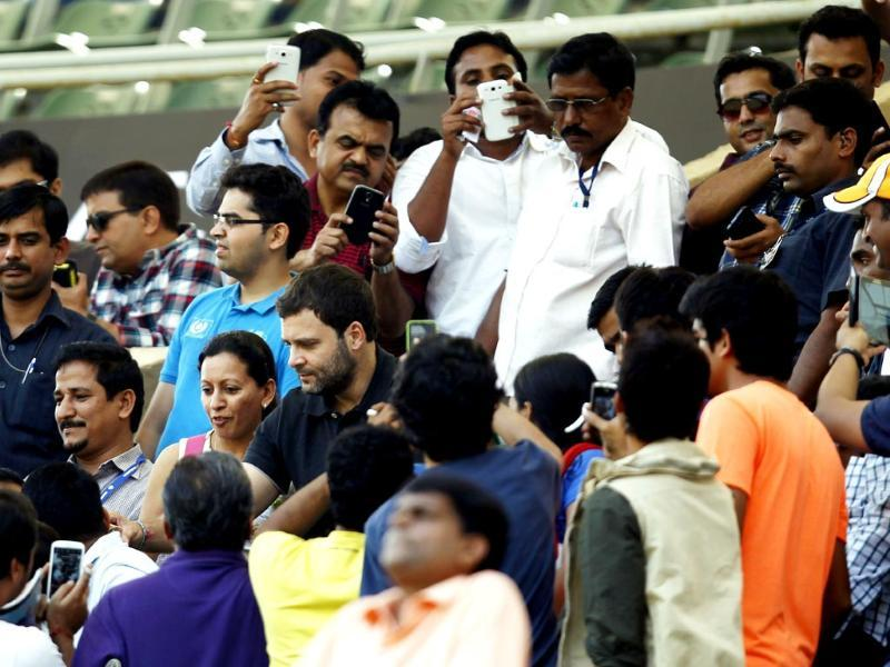Congress vice-president Rahul Gandhi watches the Sachin Tendulkar's last and 200th Test match against West Indies at Wankhede Stadium. (Ajay Aggarwal/ HT photo)