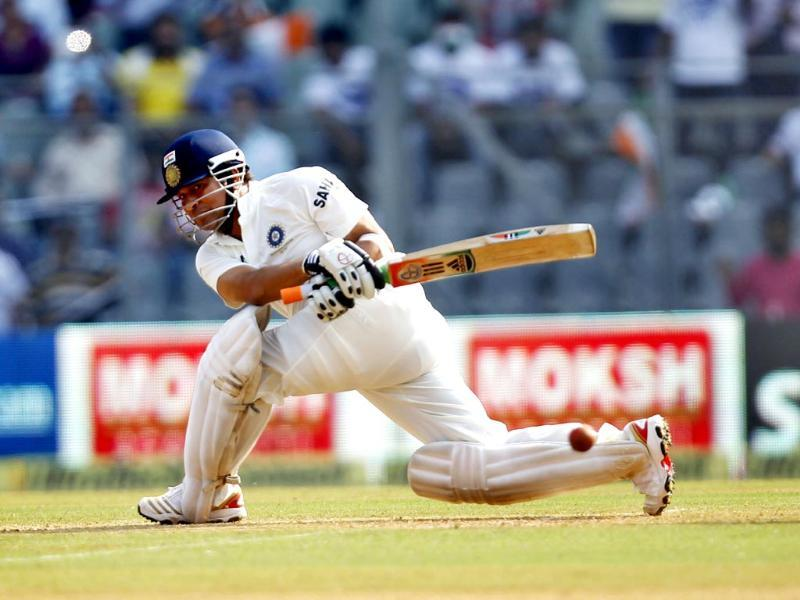 Sachin Tendulkar plays a sweep during his last and 200th Test match against West Indies at Wankhede Stadium. (Ajay Aggarwal/ HT photo)