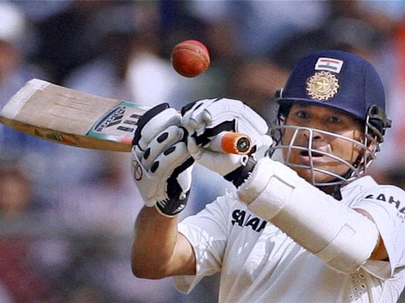 Master Blaster Sachin Tendulkar plays an upper-cut shot against West Indies during his final Test at Wankhede Stadium. (PTI photo)