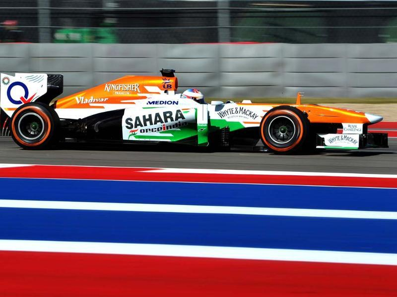 Red Bull Force India's Scottish driver Paul di Resta races during a practice session for the United States Formula One Grand Prix in Austin, Texas. (AFP Photo)