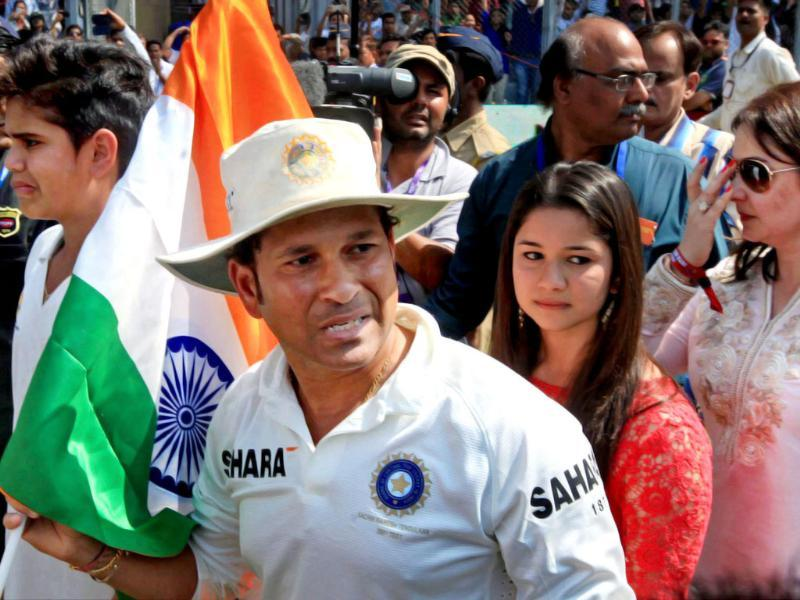 Sachin Tendulkar with his family during his farewell ceremony at Wankhede stadium in Mumbai. (PTI Photo)