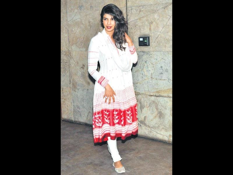 Priyanka Chopra dressed in a white churidaar in keeping with her all white getup in the item number Ram Chahe Leela in the film.