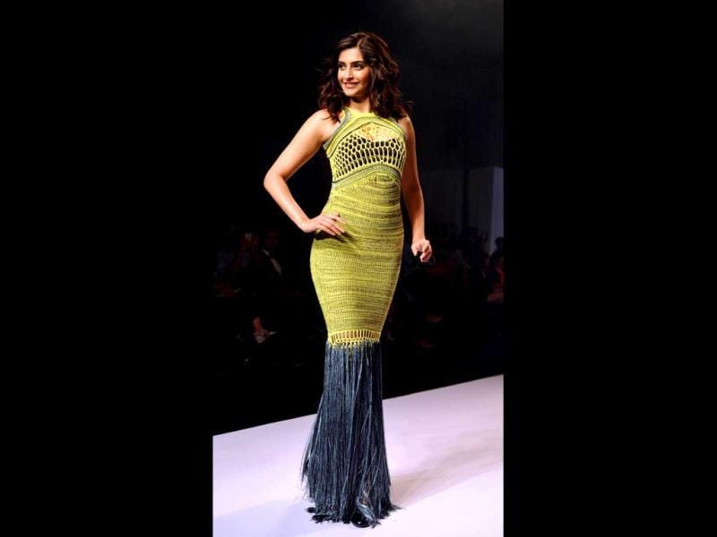 Ever so stylish Sonam Kapoor again shows her sartorial chops as she catwalks for London-based designer Mark Fast.