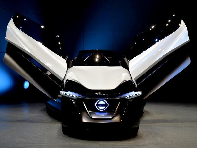 Japanese auto giant Nissan Motor's concept electric vehicle Nissan BladeGlider, equipped with in-wheel electric motors in Yokohama, Tokyo. (AFP Photo)