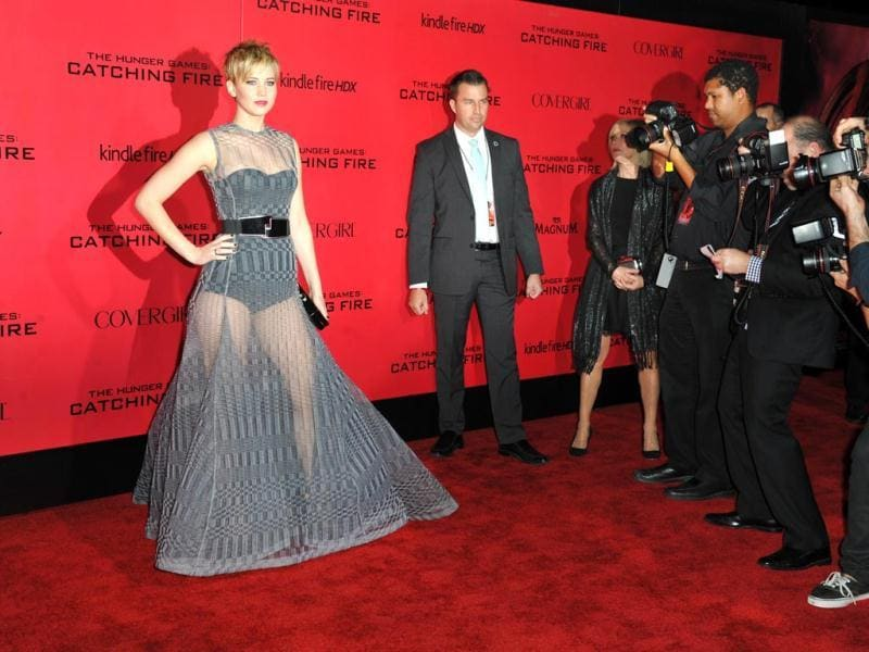 Jennifer Lawrence arrives at the Los Angeles premiere of The Hunger Games: Catching Fire at Nokia Theatre LA Live. (AP Photo)