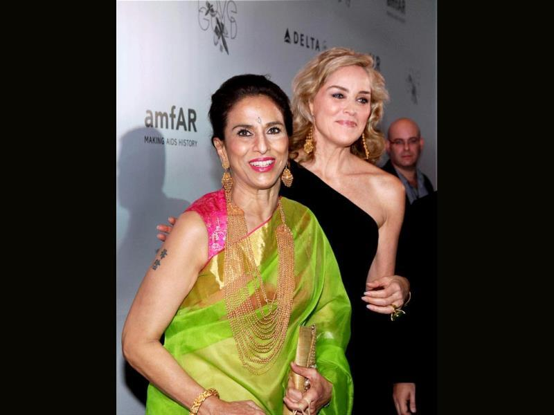 Sharon Stone and Shobha De look quite thrilled to be in the same frame.