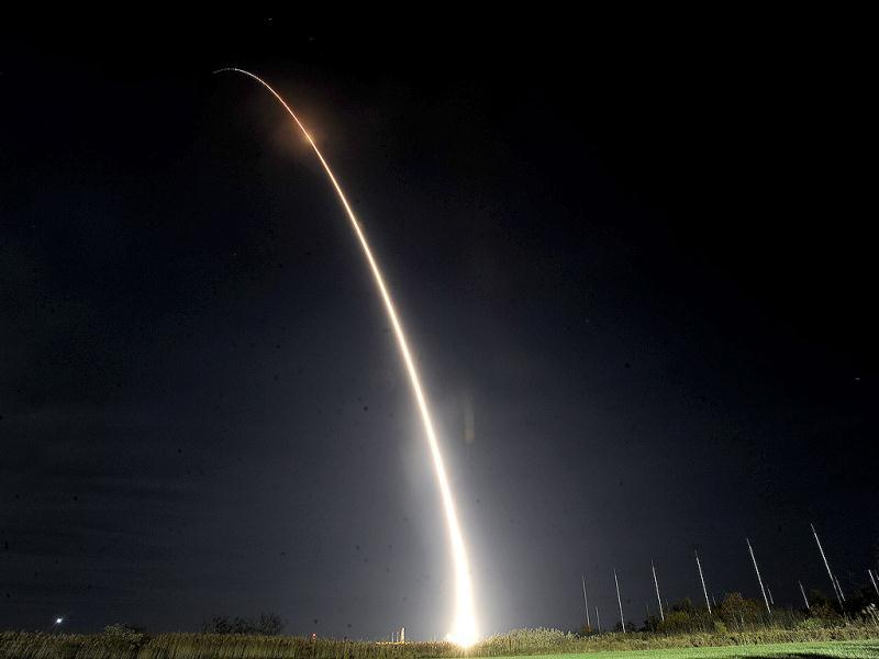 Orbital Sciences Corp.'s Miotaur I rocket carrying the Air Force's ORS-3 mission launches from Pad 0B of the Mid Atlantic Regional Spaceport on Wallops Island. (AP Photo)