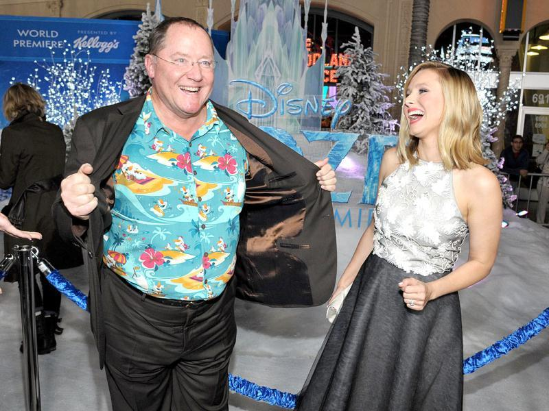 John Lasseter and Kristen Bell attend the world premiere of Frozen in Los Angeles. (AP Photo)