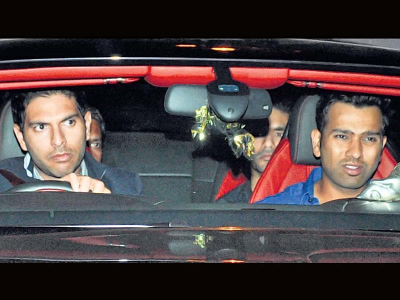 Yuvraj Singh and Rohit Sharma arrive for the bash.