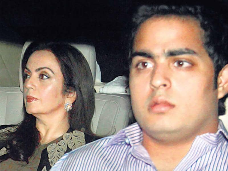 Mukesh Ambani's wife Nita and son Akash.