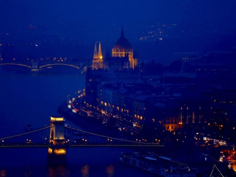 Night lights illuminate the early evening near the Danube river in Budapest. (Reuters Photo)