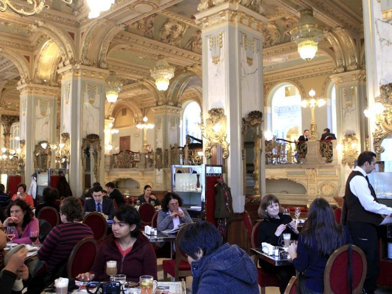Patrons visit the Boscolo New York Cafe at the Boscolo Budapest hotel in Budapest. (Reuters Photo)