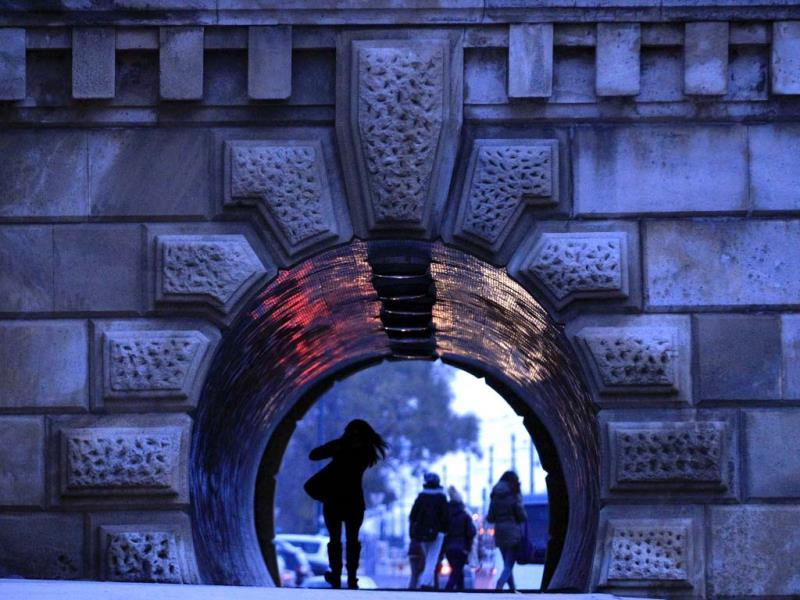 People walk through an underpass under the Chain Bridge in Budapest. (Reuters Photo)