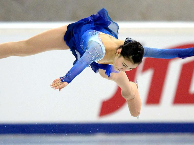 Japan's Kanako Murakami performs during the ladies free skating event at the ISU Grand Prix of Figure Skating tournament in Moscow (AFP PHOTO)