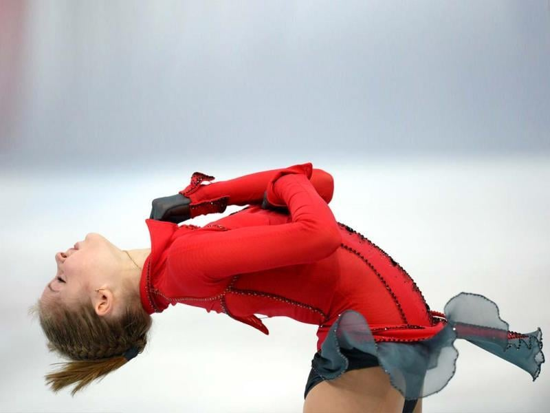 Russia's Julia Lipnitskaya performs during her ladies free skating at the ISU Grand Prix of Figure Skating tournament in Moscow (AFP PHOTO).