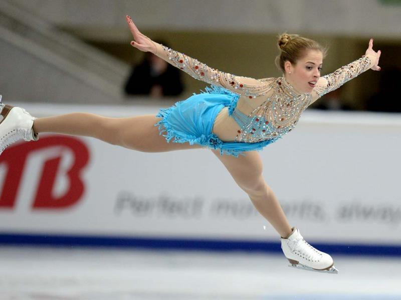 Italy's Carolina Kostner performs during her ladies free skating at the ISU Grand Prix of Figure Skating tournament in Moscow (AFP PHOTO).