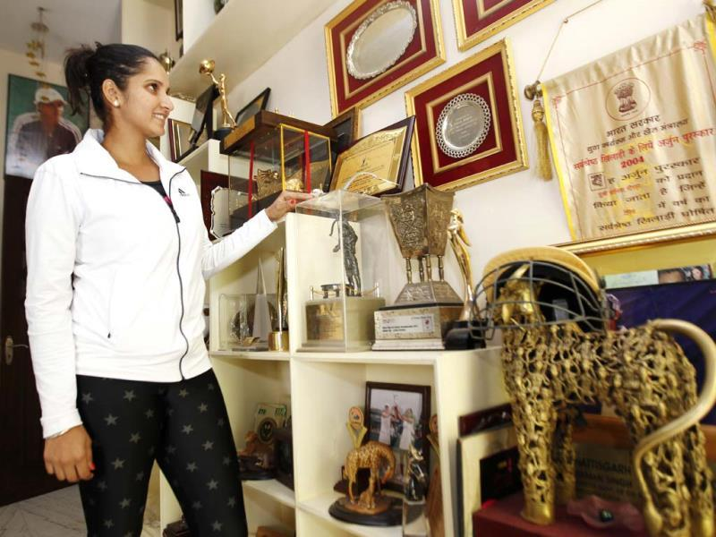 A room dedicated to her trophies in Sania Mirza's house in Hyderabad. (Ajay Aggarwal/HT photo)