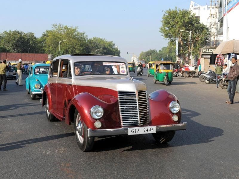 An Armstrong Siddeley Lancaster car with over 300,000 kilometres on its odometer, driven by Rajesh Ghanshyam Nath is pictured during the Vintage Car Rally in Ahmedabad. (AFP Photo)