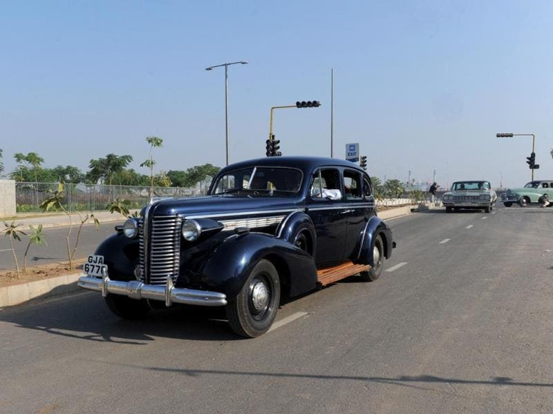 A 1937 Series 40 Buick Eight car driven by Harsheed Navroz Tarapore is pictured during the Vintage Car Rally in Ahmedabad. (AFP Photo)