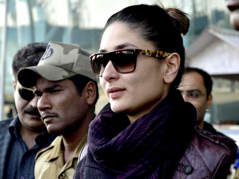 Kareena Kapoor exits the Sri Guru Ram Das Jee International Airport in the outskirts of Amritsar. (AFP Photo)