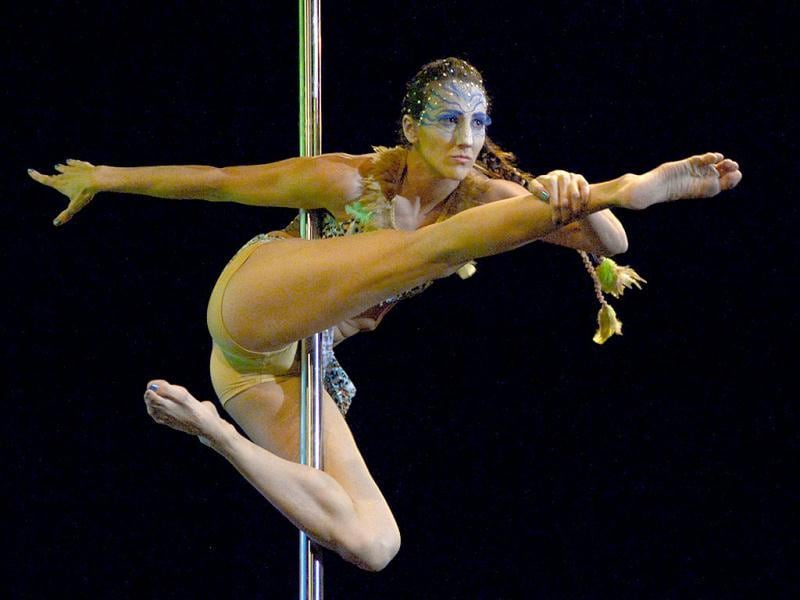 Argentine pole dancer Luciana Reyna competes in the Argentina 2013 Pole Dance competition in Buenos Aires. (AFP Photo)