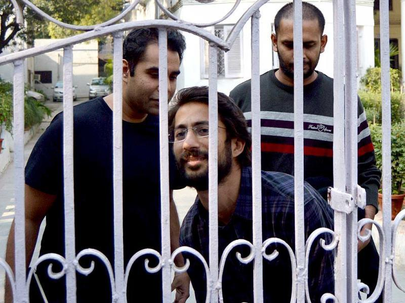 Journalists of Tehelka magazine come out of Goa Sadan after being questioned by Goa police in New Delhi. (PTI photo)