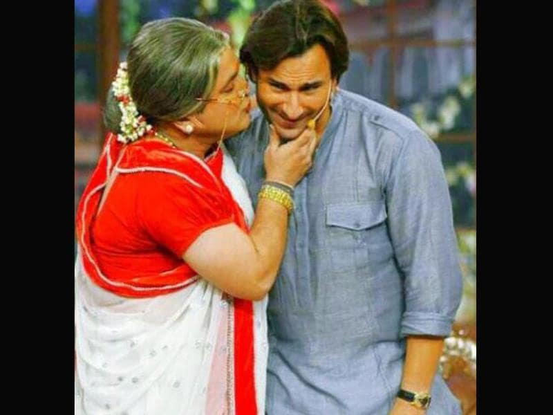 Saif Ali Khan gets the legendary Shagun ki pappi on his visit to the sets of Comedy Nights with Kapil.