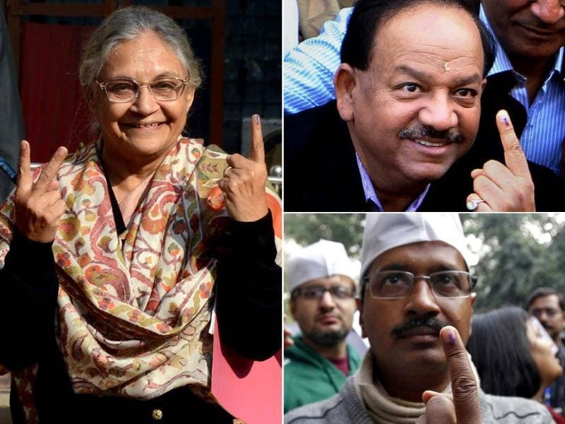 Congress CM Sheila Dikshit, BJP CM candidate Harsh Vardhan and AAP CM candidate Arvind Kejriwal after casting their votes for Delhi polls in New Delhi. (PTI photo)