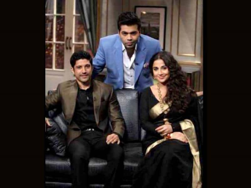 Karan Johar poses with Farhan Akhtar and Vidya Balan on the sets of his talk show Koffee with Karan. The opening episode attracted much attention as the filmmaker got Salman Khan talking candidly about his life and more. Browse through and take a look at the A-listers set to dazzle the Koffee wiith Karan this season.