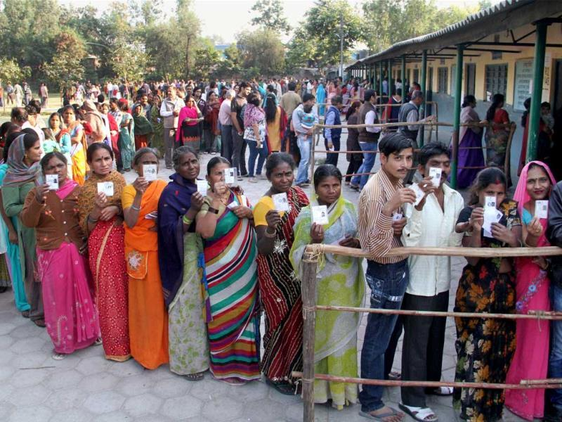 Voters wait in queues at a polling station in Shalimar Bagh during Delhi Assembly polls in New Delhi. (PTI photo)