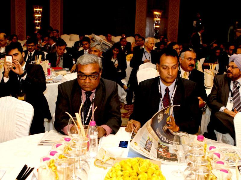 A group of delegates at the Hindustan Times Leadership Summit in New Delhi. (Virendra Singh Gosain/ HT Photo)