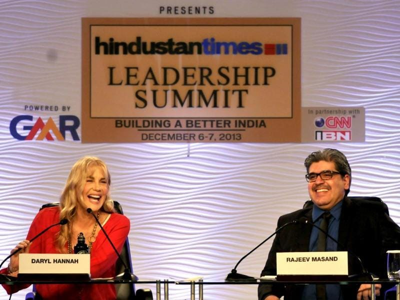 Actor and activist Daryl Hannah in conversation with film critic and entertainment reporter Rajeev Masand at the summit. (Mohd Zakir/ HT Photo)