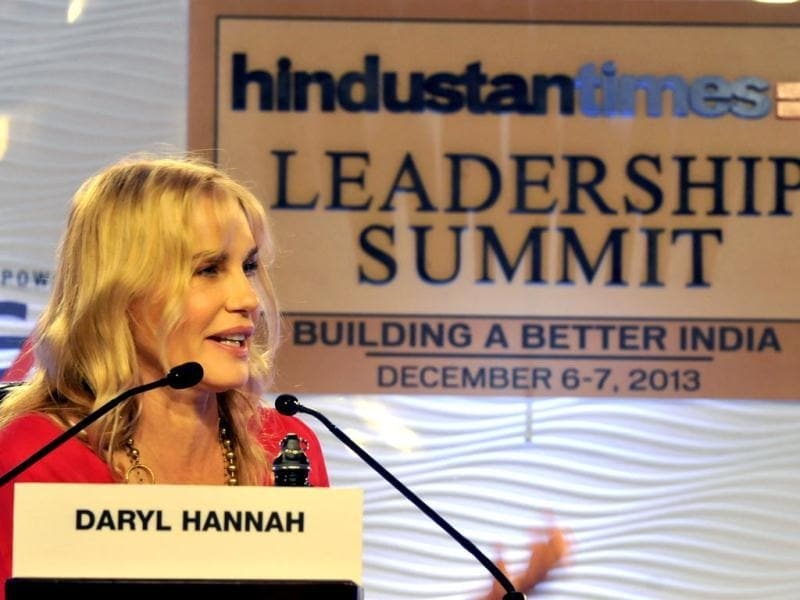Daryl Hannah, actor and activist in conversation during the Hindustan Times Leadership Summit in New Delhi on Friday. The Hollywood actor has starred in films like Kill Bill and Blade Runner and is a champion of environment issues. This was her first visit to India.
