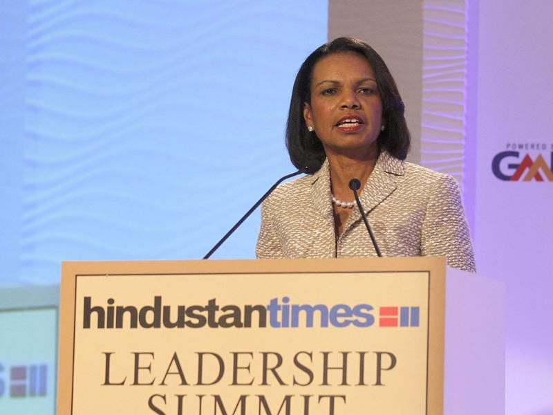Former US secretary of state Condoleezza Rice speaks during the Hindustan Times Leadership Summit 2013 in New Delhi. (Virendra Singh Gosain/HT)