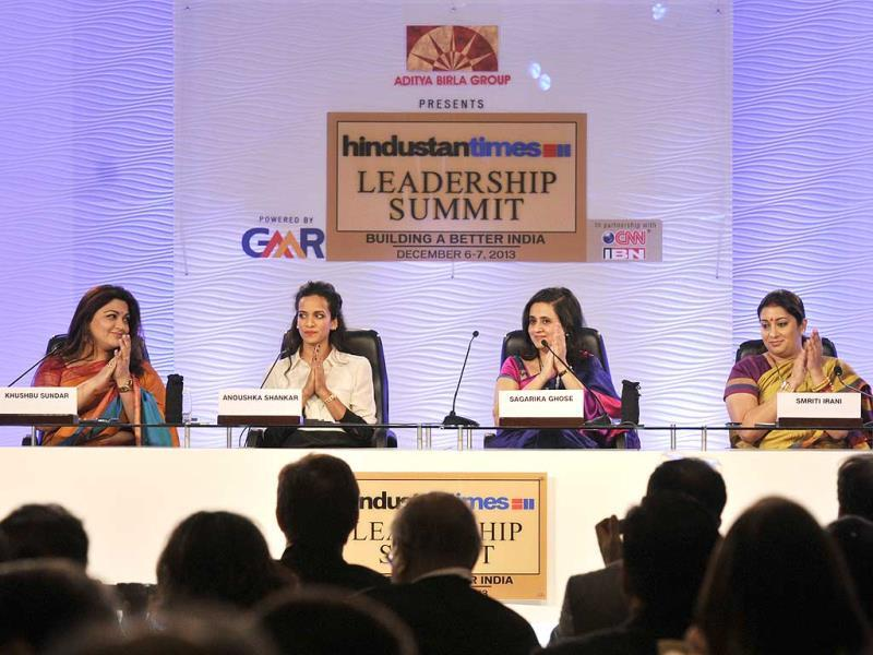 Smriti Irani, National Vice President of BJP (R), Anoushka Shankar, starist and composer (2nd L) and Khushbu political leader and actor (L) at a session on Women: Changing the Indian Mind-Set chaired by Sagarika Ghose, Editor CNN-IBN during the Hindustan Times Leadership Summit in New Delhi. (HT Photo/Mohd Zakir)
