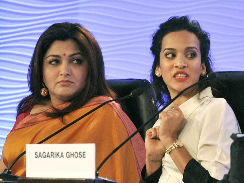 Anoushka Shankar, sitarist and composer and Khushbu Political leader and actor (L) speak at Hindustan Times Leadership Summit. (HT Photo/Mohd Zakir)