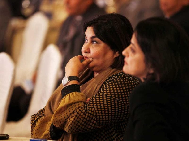 Journalist, author, and columnist Seema Goswami during a session at the Hindustan Times Leadership Summit 2013 in New Delhi. (Ajay Aggarwal/ HT Photo)