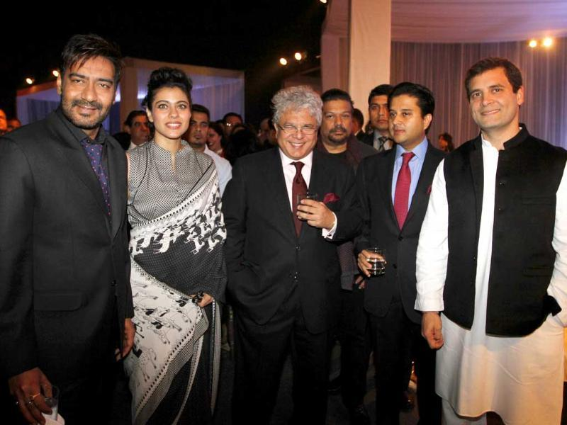 Congress vice-president Rahul Gandhi, Congress leader and union minister Jyotiraditya Scindia, adman Suhel Seth, actors Kajol and Ajay Devgn attend the Hindustan Times Leadership Summit 2013 (HTLS) party in New Delhi. (Sanjeev Verma/ HT Photo)