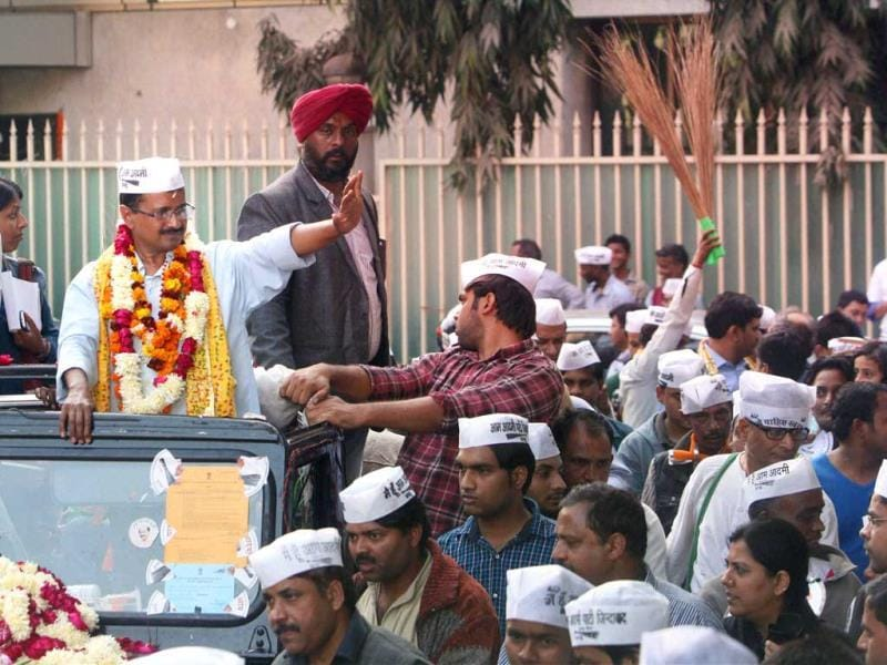 File photo of AAP convener Arvind Kejriwal during Delhi assembly elections in New Delhi. (PTI)
