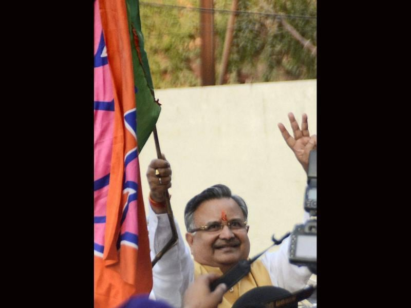 Chhattisgarh CM Raman Singh flashes hat-trick sign in Raipur. (PTI)