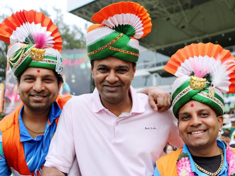 Indian cricket fans pose during the 2nd ODI between India and South Africa at Kingsmead. (AFP Photo)